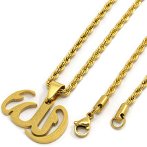 "Men Gold Plated Stainless Steel Allah Pendant 3mm 24"" Rope Chain Necklace - $19.79"