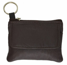 Brown 100% Leather Men Women Zip Coin Change Holder Flap Snap Zip Key Ri... - $6.92