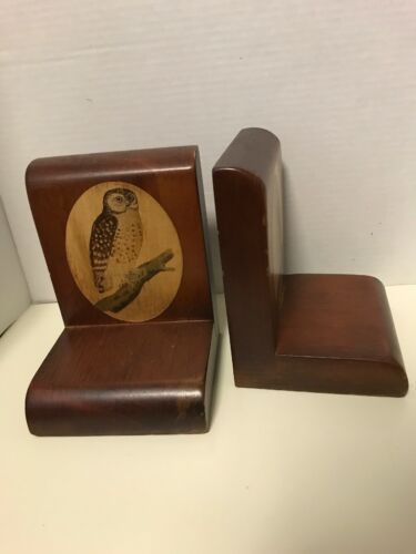 Wood Owl Bookends Tree Branch Library Vintage Estate Find Bird