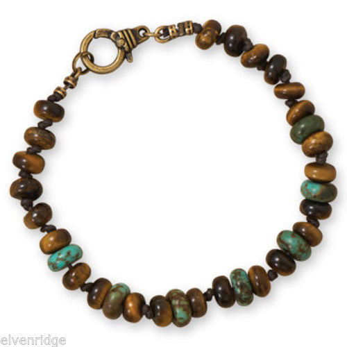 "8.75"" Tiger's Eye and Reconstituted Turquoise Men's Fashion Bracelet"