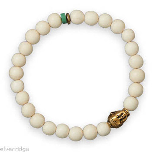 "8"" Fashion White Wood Stretch Bracelet with Buddha Bead"