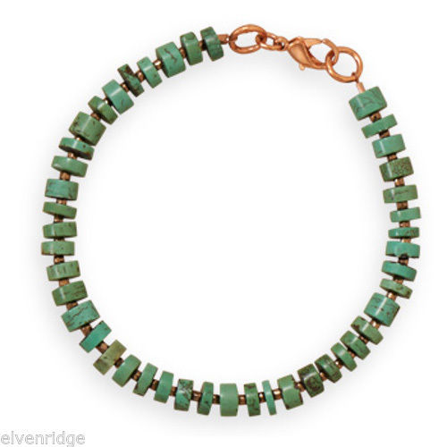 "8"" Green Magnesite and Glass Seed Bead Copper Bracelet"