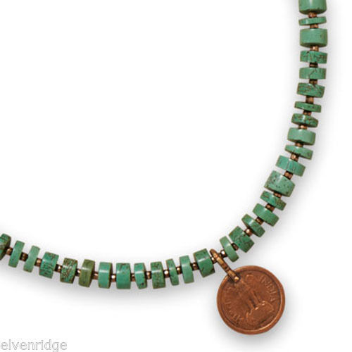 "20"" Green Magnesite Heshi Bead and Glass Seed Bead Copper Coin Necklace"