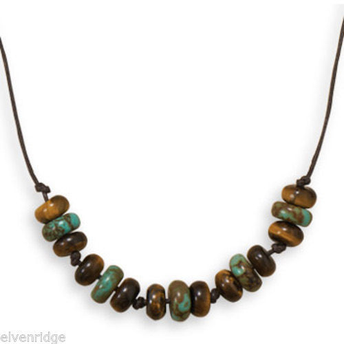 "22"" Tiger's Eye and Reconstituted Turquoise Men's Fashion Necklace"