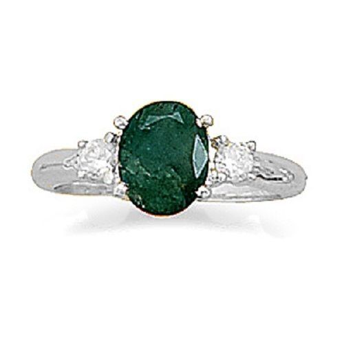 Rough-Cut Emerald and CZ Ring Sterling Silver