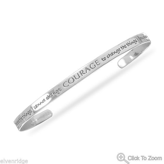 Oxidized Sterling Silver Serenity Prayer Cuff