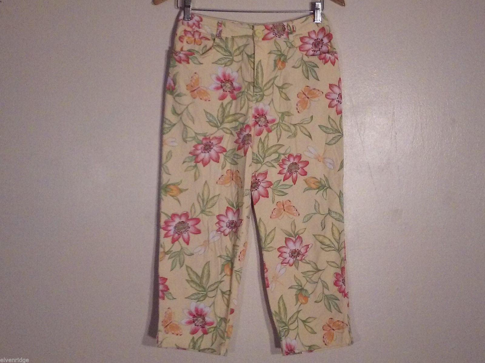 Talbots Women's Size 8 Petite 8P Floral Print Capris Pants in Pink Green Orange