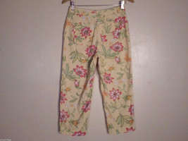 Talbots Women's Size 8 Petite 8P Floral Print Capris Pants in Pink Green Orange image 2