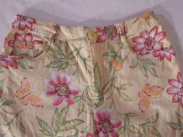 Talbots Women's Size 8 Petite 8P Floral Print Capris Pants in Pink Green Orange image 3