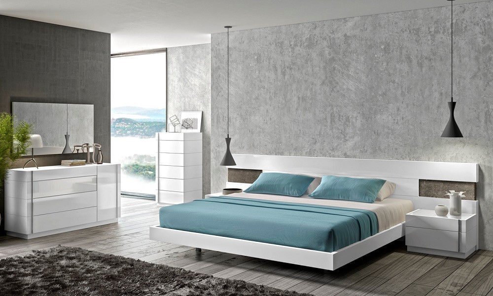 J&M Chic Modern Amora White Lacquer & Natural Wood Veneer Queen Size Bedroom Set