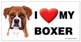 I Love My Boxer natural ears  Car Magnet 8x4 Dog Sign - $5.99