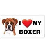 I Love My Boxer natural ears  Car Magnet 8x4 Dog Sign - $5.99