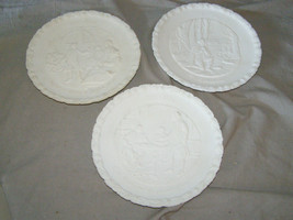 "3 Fenton Bicentennial White Matte Milk Glass 8"" Plates #1, #2, #3 - $17.82"