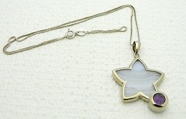 VTG WHITNEY KELLY .925 Silver Blue Lace Agate & Amethyst Star Necklace - $49.50