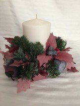 Candle Rings Silk Flowers Pink & Blue Floral Christmas Theme w/Pine Cones - $6.95