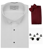 Tuxedo Shirt, Burgundy Cummerbund, Bow-Tie, Cuff Links & Studs #501 - $29.95