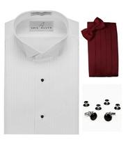 Tuxedo Shirt, Burgundy Cummerbund, Bow-Tie, Cuff Links & Studs #901 - $29.95