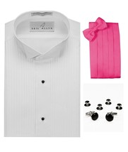 Tuxedo Shirt, Hot Pink Cummerbund, Bow-Tie, Cuff Links & Studs #901 - $29.95