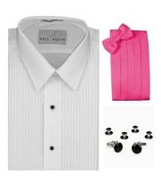 Tuxedo Shirt, Hot Pink Cummerbund, Bow-Tie, Cuff Links & Studs #937 - $29.95