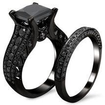 14k Black Gold Over 3.80 Ct Princess Cut Black Lab Diamond Engagement Bridal Set - $135.99