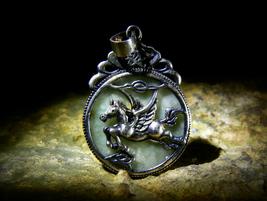 Haizum Archangel Gabriel Immortal Winged Horse Rare Jadeite Amulet Izida Haunted - $222.22