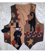Halloween Vest Handmade with Quilted Bat,Cat and Witch Size Small-Medium - $10.00