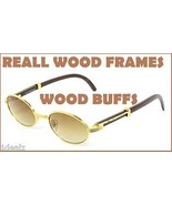 New Oval Wood Buffs Unisex Sunglasses REAL WOOD and Gold Color frame Bal... - $39.59
