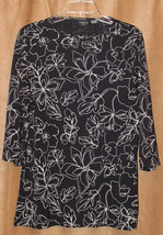 STYLISH GEORGE STRETCH BLACK WHITE FLOWERS 3/4 SLEEVE SHIRT TOP SLITS 14... - $3.99