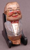 Bottle Stopper-Carved Pine Wood Vintage Art Deco antique novelty-cork-Tr... - $46.74