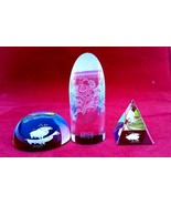 Crystal Aries set of 3 different shapes of colorful decorative paperweight - $22.44