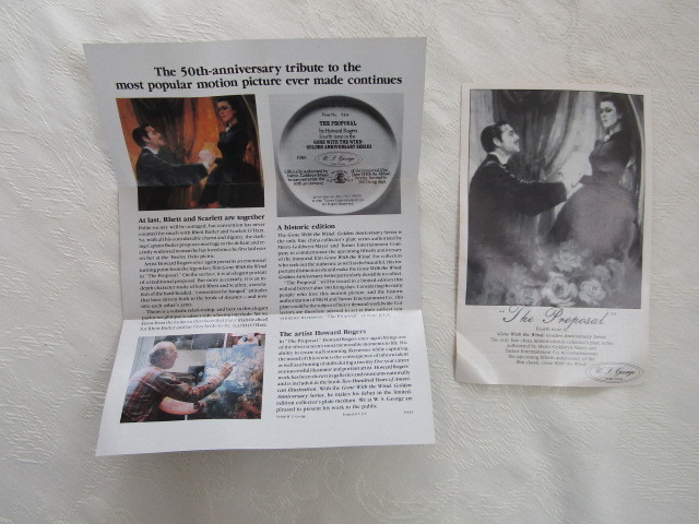 Collector Plate, Gone with the Wind - The Proposal, W.S. George China