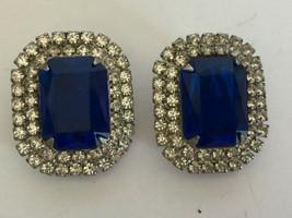 Vintage set necklace dangling earrings dark blue stones, faux diamond st... - $12.86