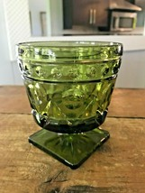 """70s MCM Colony Park Lane Green Depression Glass Champagne Tall Sherbet 4 3/8"""" - $5.00"""