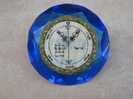 Fourth Pentacle of Jupiter on Egyptian Papyrus on blue crystal diamond S... - $99.99