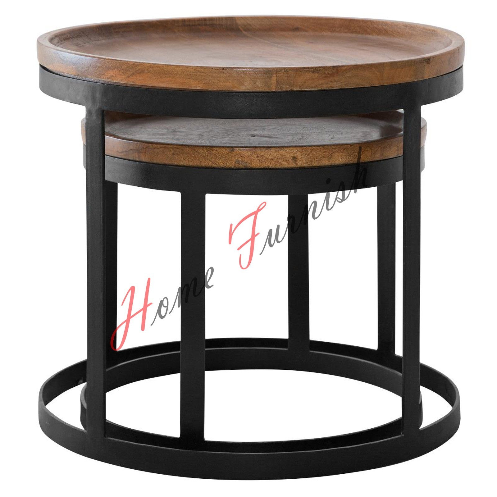 Set Of Two Lift Off Tray Tables Vintage Look Industrial Style Coffee Table Neste Tables