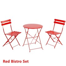 Outdoor Patio Bistro Set Small Folding Garden Balcony Coffee Table Chair... - $168.04