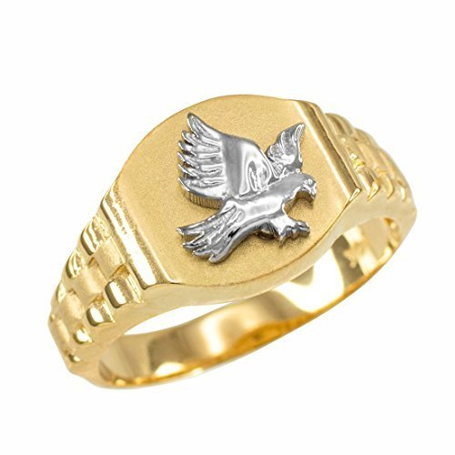 Primary image for 10k Two-tone Gold American Eagle Signet Ring Mens Size 6-16 (10)