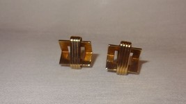 Vintage Gold Tone Cufflinks Costume Stripes Tri... - $29.46