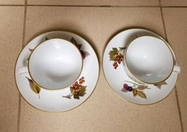 Set 2 Vintage Royal Worcester Evesham Tea Cup & Saucer England Plum Apples Plate image 3
