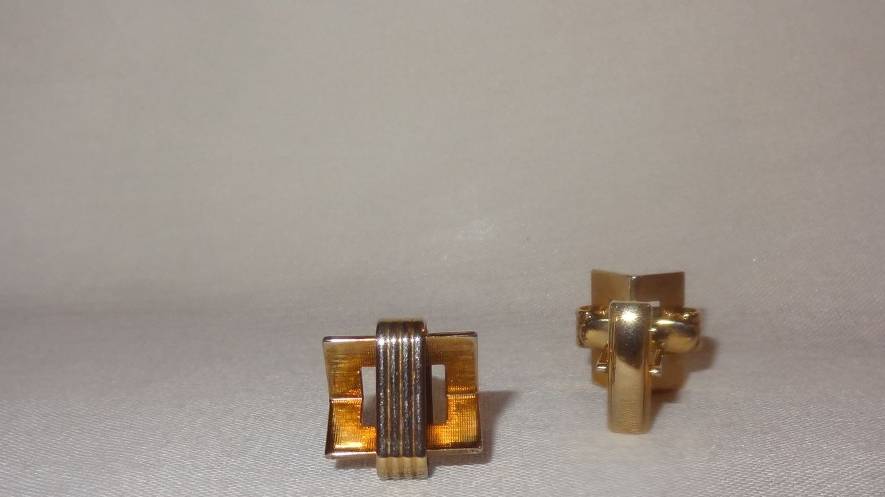 Vintage Gold Tone Cufflinks Costume Stripes Triangle