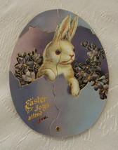 Card, Easter, Reproduction Victorian, Diecut Gold, Blue w/Bunnies - $4.00