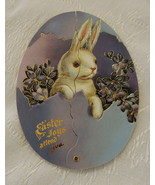 Card, Easter, Reproduction Victorian, Diecut Gold, Blue w/Bunnies - $4.00