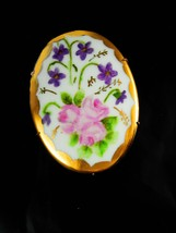 HUGE Victorian brooch Handpainted porcelain roses Wedding anniversary gi... - $125.00