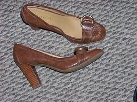 womens nickels brown buckle toe slip on wood heels shoes size 6 1/2 - $18.79