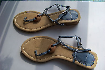 646479fb332b8 womens lands end blue leather strappy mini heel sandals shoes size 10