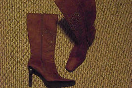 womens skechers brown fabric square toe side zip heel boots size 6 1/2 - £15.79 GBP