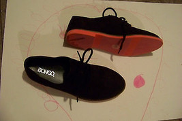 970c4af98a7 womens bongo engstrom black fabric pink sole oxfords shoes size 6 -  15.83