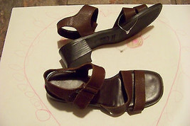 1e3d1c7e4 womens montego bay club brown leather strappy heel sandals shoes size 7 1 2  -