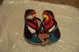 new mens havaianas tom veiga blue multi colored flip flops sandals shoes 8 - $20.78