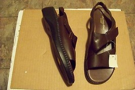 womens montego bay club brown strappy wedge heel sandals shoes size 7  - $18.79